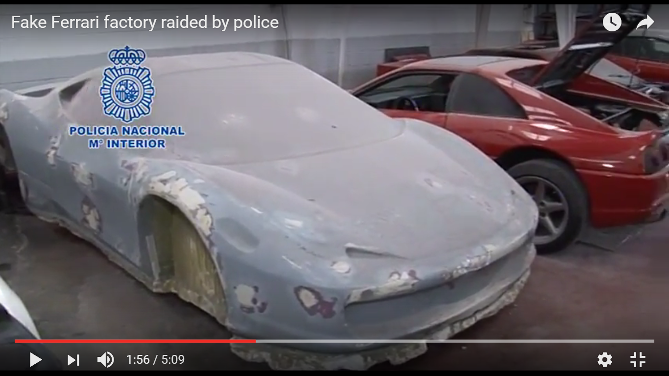 YouTube/Motoring Research-Fake Ferrari factory raided by police